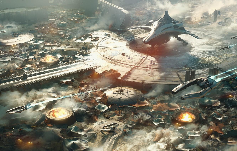 Фото обои Star Citizen, Banu Merchantman, Space ship, Space port