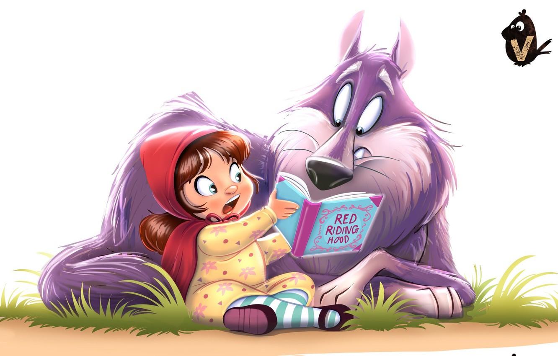 Фото обои волк, сказка, красная шапочка, арт, книга, детская, Vipin Jacob, Red and Wolfie