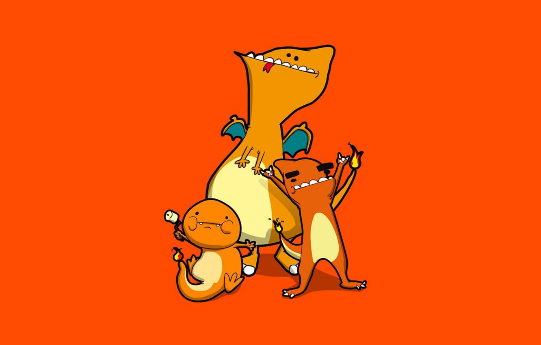 Фото обои оранжевый, огонь, flame, карикатура, огненный, orange, pokemon, зефир, Charmander, Charmeleon, Charizard, Чаризард, Чармандер, marshmallow, Чармилион