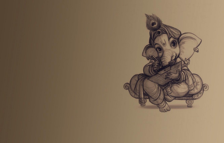 Фото обои фон, слон, учение, Ганеш