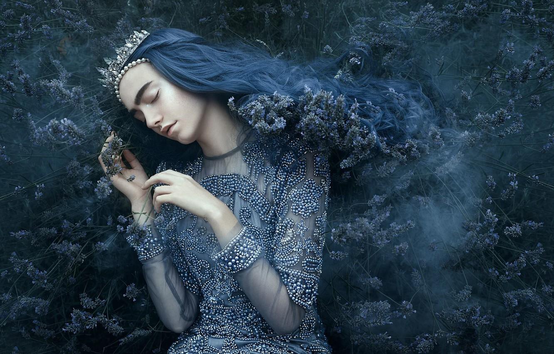 Фото обои девушка, стиль, настроение, сон, корона, платье, диадема, принцесса, кусты, синие волосы, закрытые глаза, спящая, Bella …