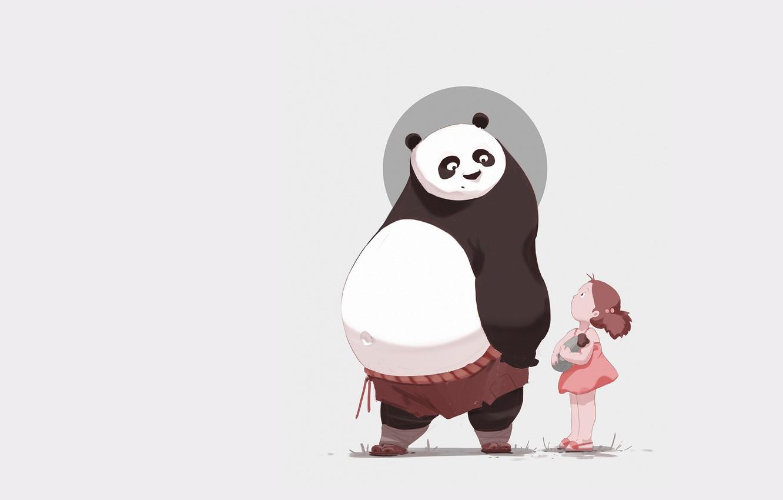 Фото обои минимализм, аниме, арт, панда, девочка, детская, Atey Ghailan, 313/365 My neighbor Po