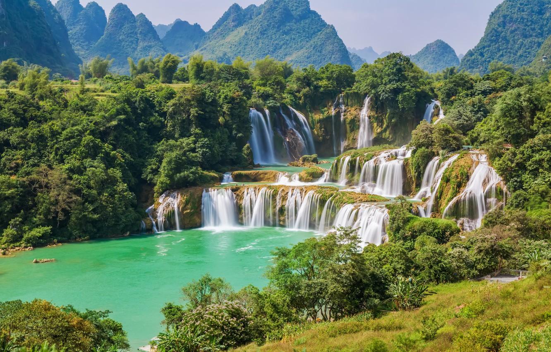 Фото обои пейзаж, река, скалы, водопад, summer, river, landscape, beautiful, waterfall, tropical