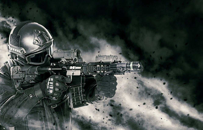 Фото обои soldier, elite, armament, helmet, assault rifle, equipment, powder