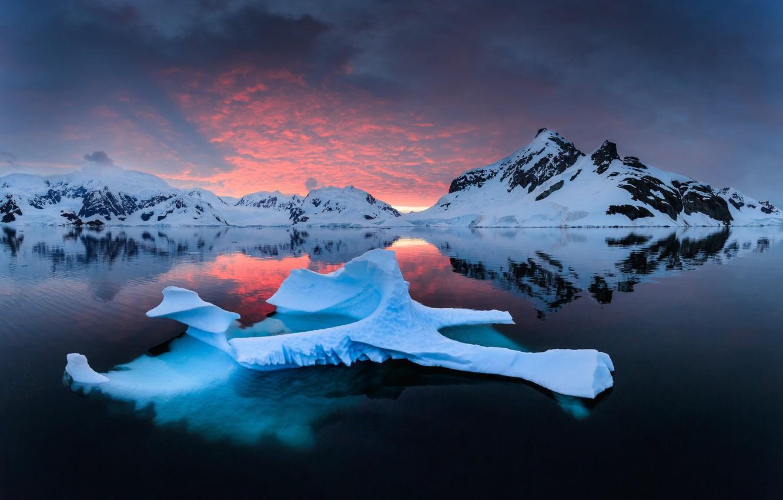 Фото обои море, снег, горы, лёд, фьорд