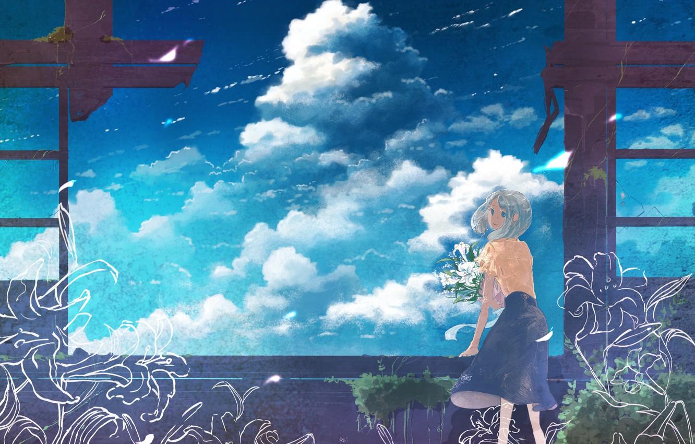Фото обои небо, девушка, цветы, заброшенный дом, K.Hati