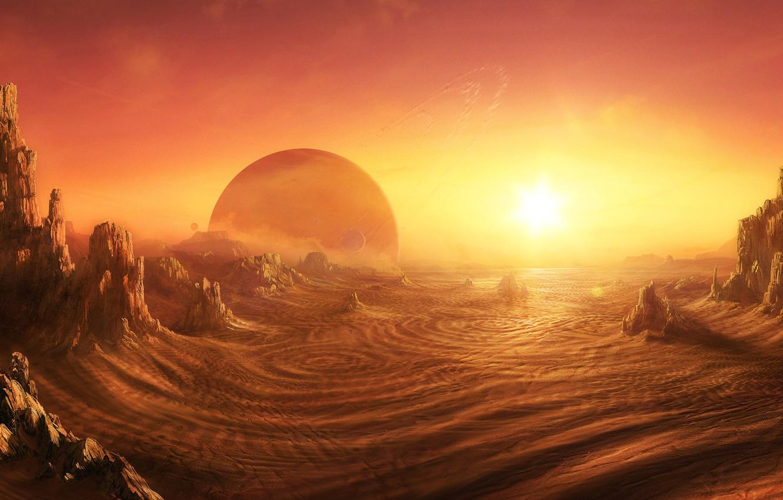 Фото обои Пустыня, sunrise on alien planet, Daniel Kvasznicza