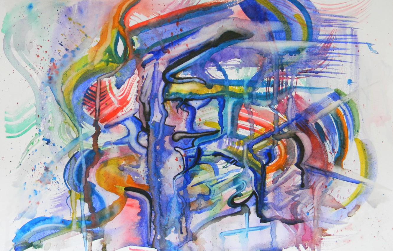 Фото обои оранжевый, синий, красный, чёрный, масло, Рисунок, пастель, маркеры, гуашь, Акварель, акрил, гель, Абстракционизм, Лена Роговая, …