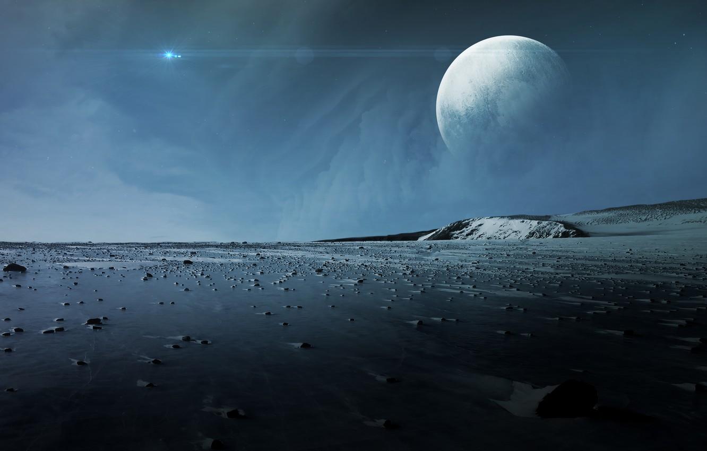 Фото обои moon, planet, stones, sci fi