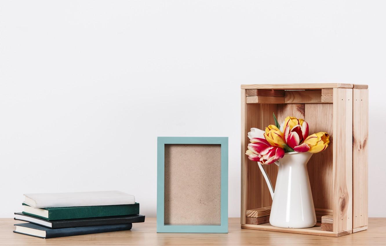 Фото обои цветы, фото, букет, рамка, colorful, тюльпаны, ваза, flowers, romantic, tulips, spring