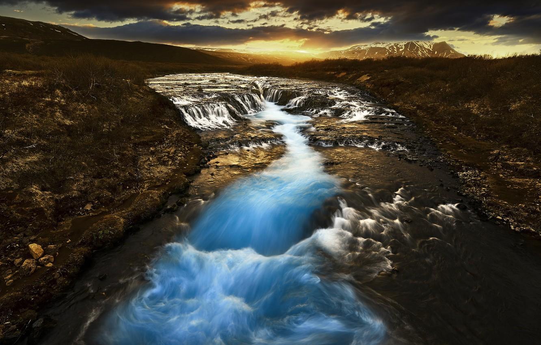 Фото обои закат, река, водопад, каскад, Исландия, Iceland, Bruarfoss, Arnessysla, Bruara River