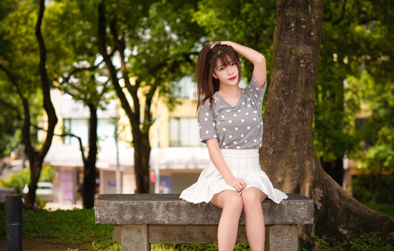 Фото обои лето, девушка, скамейка, лицо, волосы