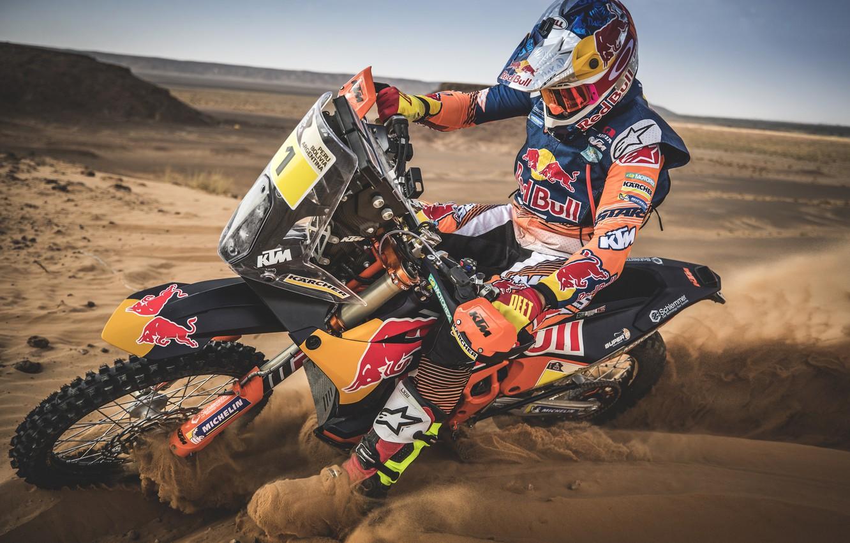 Фото обои Спорт, Мотоцикл, Гонщик, Мото, Bike, Rally, Dakar, Дакар, Ралли, Moto, RedBull, Motorbike