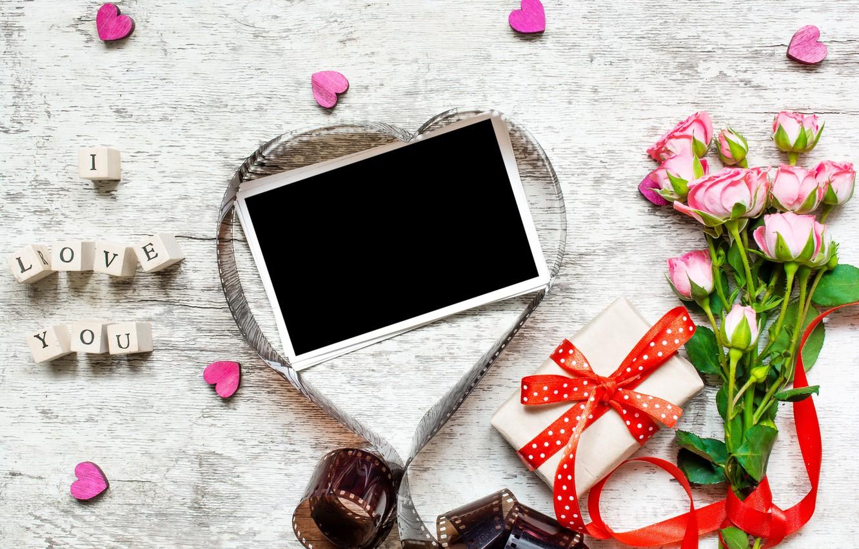 Обои gift, сердечки, roses, розовые розы, I love you. Настроения foto 19