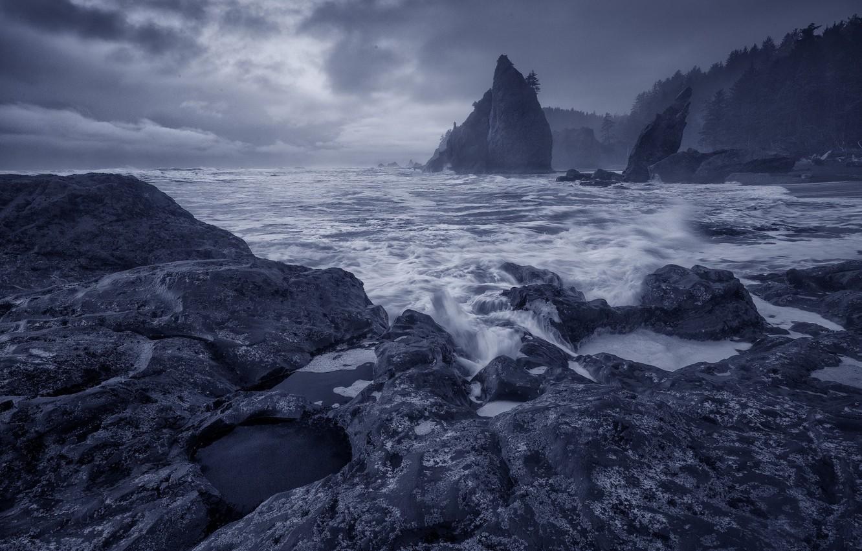 Обои отлив, лучи, тучи, скалы. Природа foto 9