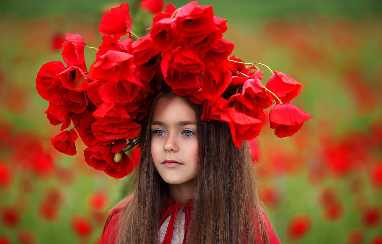 Фото обои цветы, маки, девочка, венок