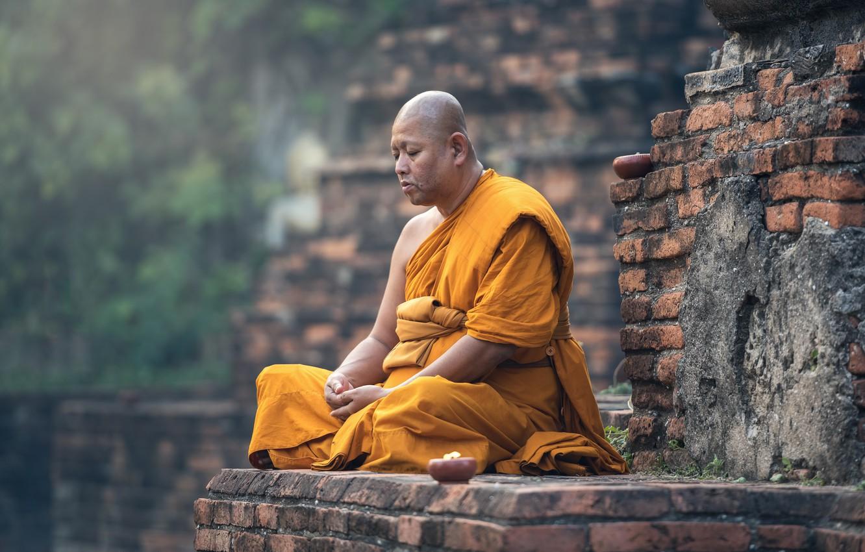 Фото обои Стена, Поза, Портрет, Религия, Монах, Медитация