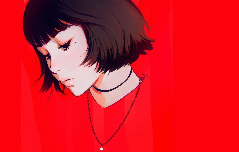 Фото обои лицо, стрижка, родинка, губки, красный фон, челка, портрет девушки, Илья Кувшинов, цепочка на шее