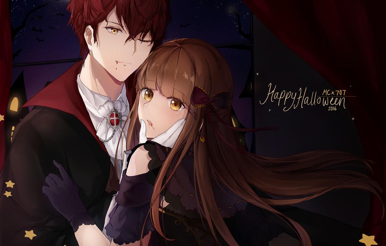 Фото обои девушка, жертва, вампир, парень, хеллоуин, Mystic Messenger