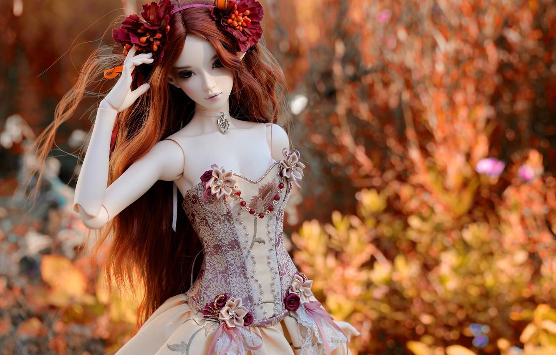Фото обои украшения, цветы, природа, игрушка, кукла, платье