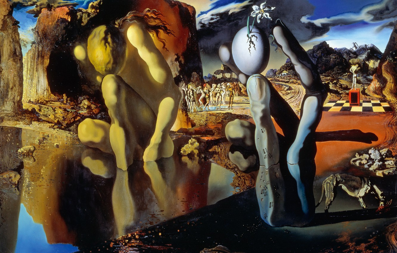 Фото обои сюрреализм, картина, Сальвадор Дали, Salvador Dali, Метаморфоза Нарцисса