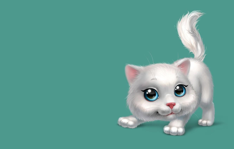 Фото обои настроение, игра, арт, котёнок, детская, кошечка