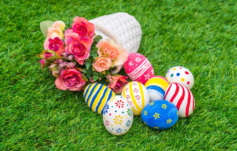 Фото обои цветы, праздник, корзина, яйца, пасха, травка
