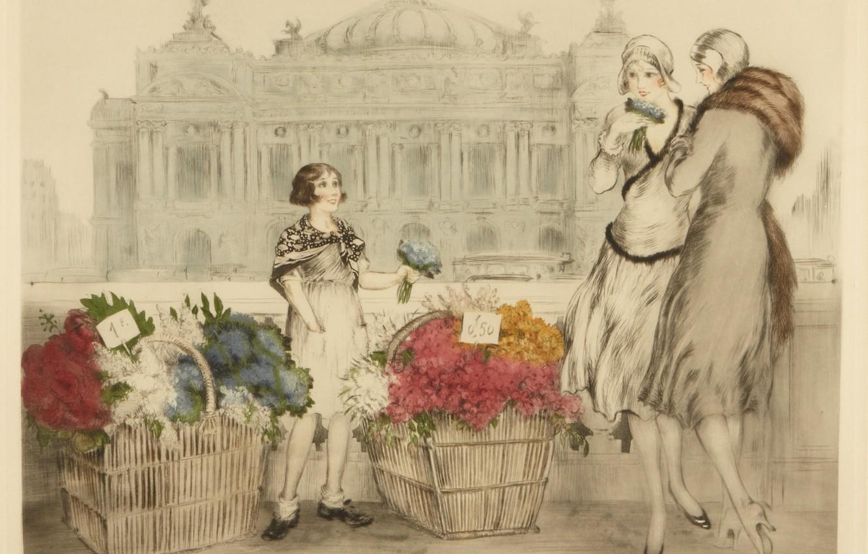 Фото обои 1930, Louis Icart, Парижские цветы
