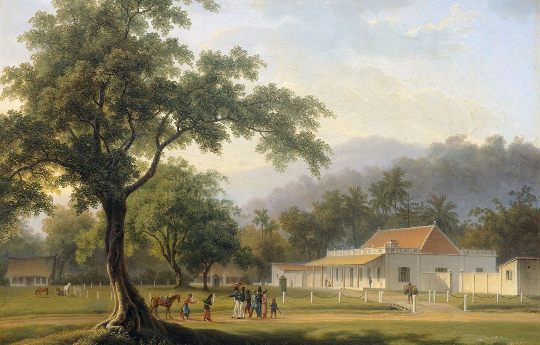 Фото обои пейзаж, масло, картина, холст, Вид на Дом Помощника Резидента Баньюванги, Auguste Antoine Joseph Payen
