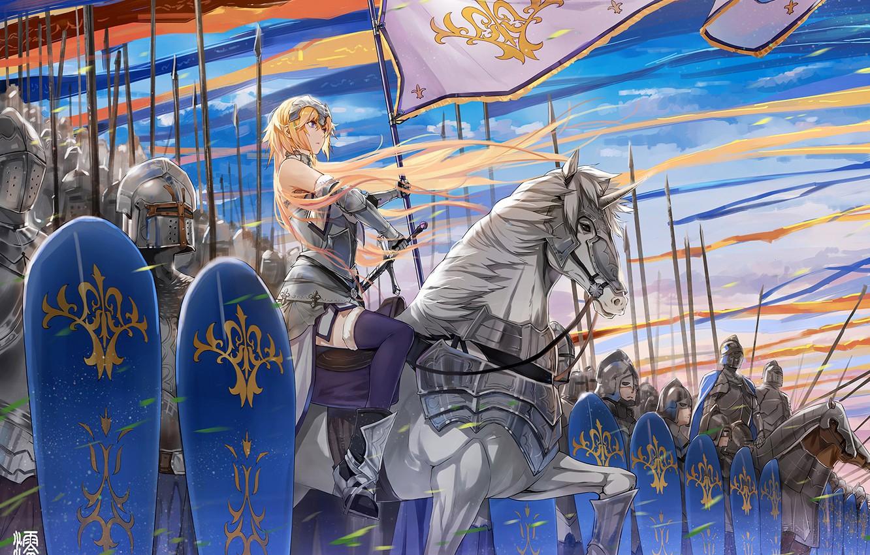 Фото обои soldiers, armor, anime, army, flags, artwork, warriors, swords, spears, knight, helmet, banner, anime girl, shields, …
