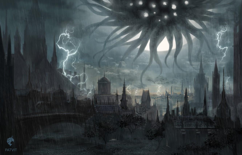 Фото обои город, молнии, монстр, фэнтези, арт, ливень, темное фэнтази