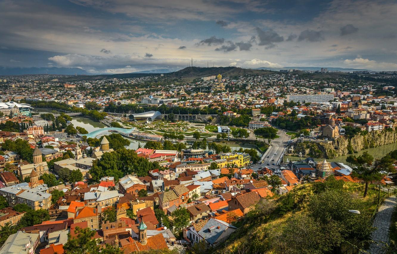 Фото обои Панорама, Крыши, Грузия, Georgia, Panorama, Тбилиси, Tbilisi