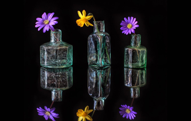 Обои стекло, натюрморт, бутылка, цветы, графин. Разное foto 9