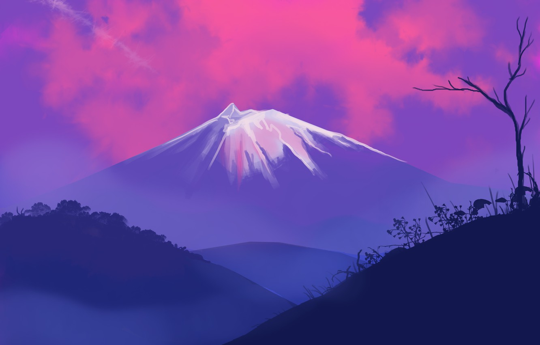 Фото обои landscape, nature, sunset, Mountain, art, tree, hills, digital art, artwork, plants, silhouette, painting art, snowy …