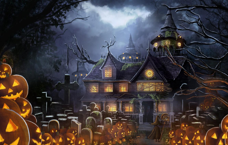 Фото обои дом, аниме, тыквы, хеллоуин, параздник