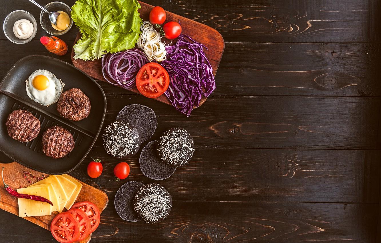 Фото обои зелень, сыр, мясо, овощи, соус, гамбургер, котлета, сэндвич, булочка, бутерброды, hamburger, tomato, sandwich, ингредиенты