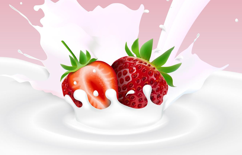 Фото обои фон, молоко, клубника, ягода