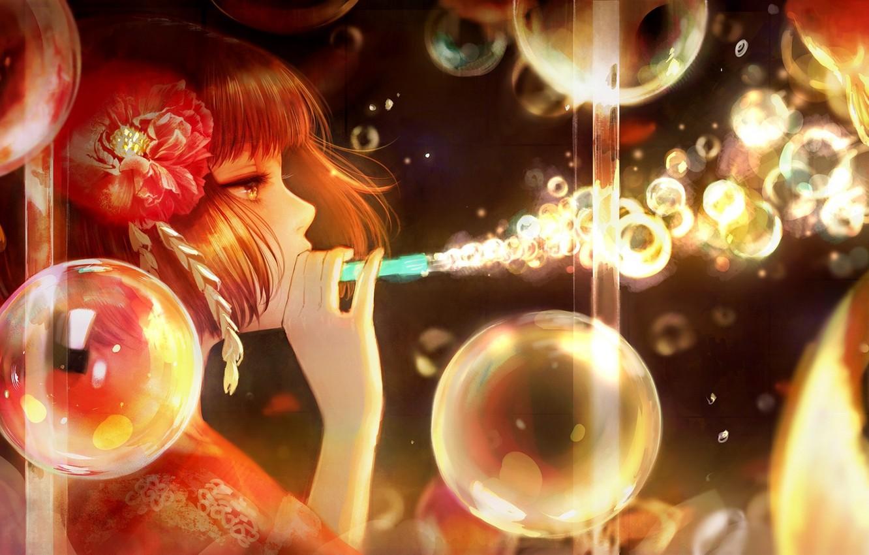 Фото обои цветок, девушка, пузыри, аниме, арт, профиль, romiy