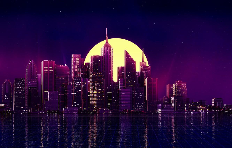 Обои ночные огни, ночной город, Пейзаж. Города foto 17