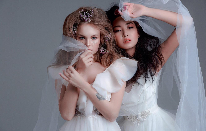 Фото обои стиль, две девушки, модели, фата, свадебное платье, невесты, Анастасия Щеглова, Anastasiya Scheglova, Любовь Субботина