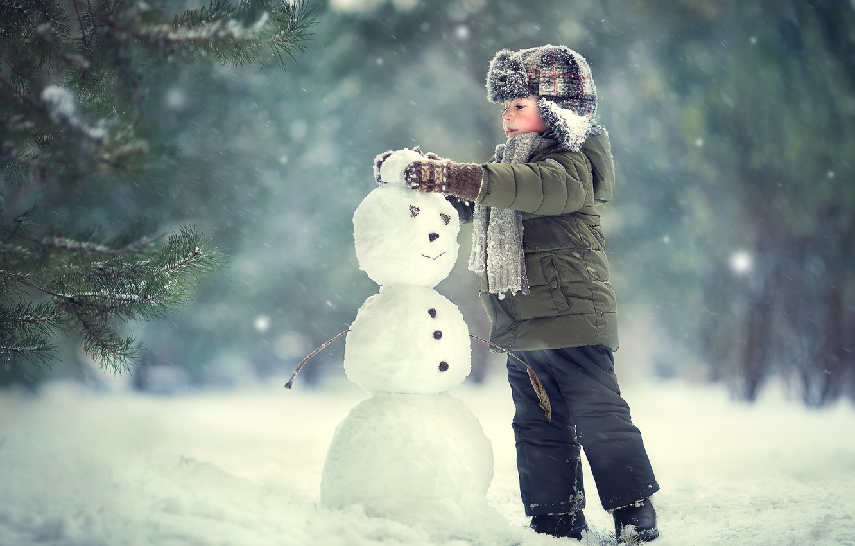 Фото обои зима, ребенок, мальчик, снеговик