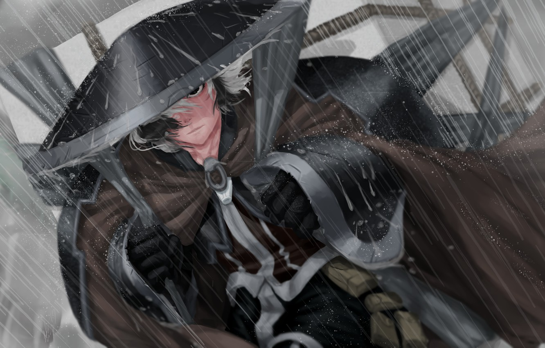 Фото обои character, rain, hat, anime, digital art, artwork, Samurai, manga, cape, anime girl