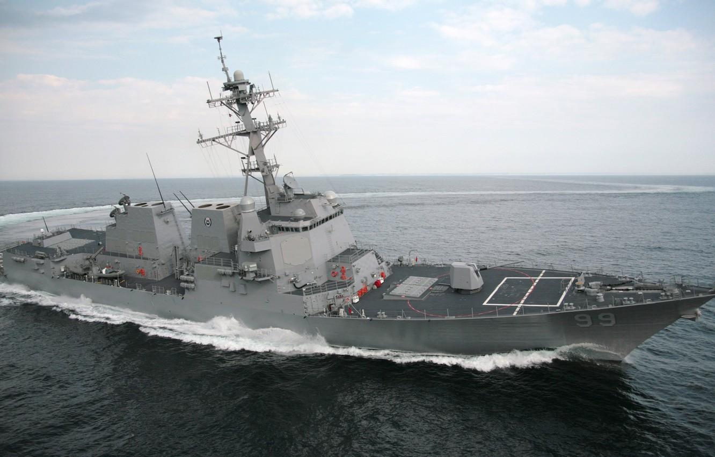 Фото обои море, корабль, США, эсминец, «Арли Бёрк»