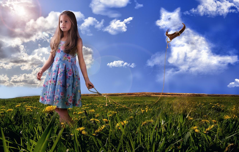 Фото обои поле, лето, трава, облака, цветы, природа, собака, девочка, ошейник, одуванчики, верёвка, пёс