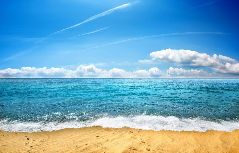 Фото обои песок, море, пляж, небо, берег, beach, sea, seascape, sand, wave