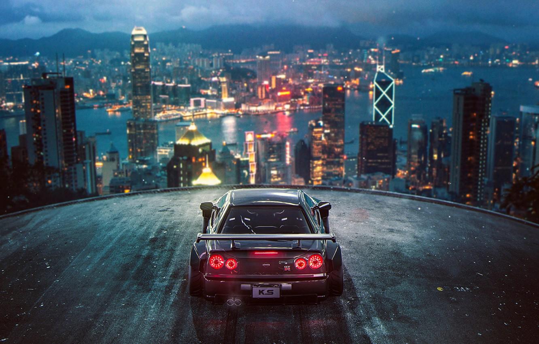 Фото обои City, Nissan, Skyline, Tuning, Future, R34, by Khyzyl Saleem