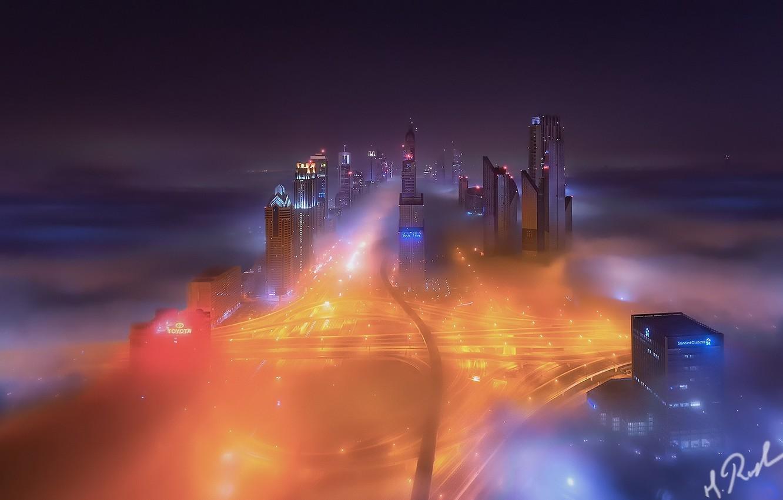 Фото обои ночь, город, огни, туман, Дубай, ОАЭ