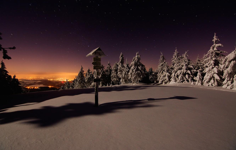 Фото обои Зима, Ночь, Снег