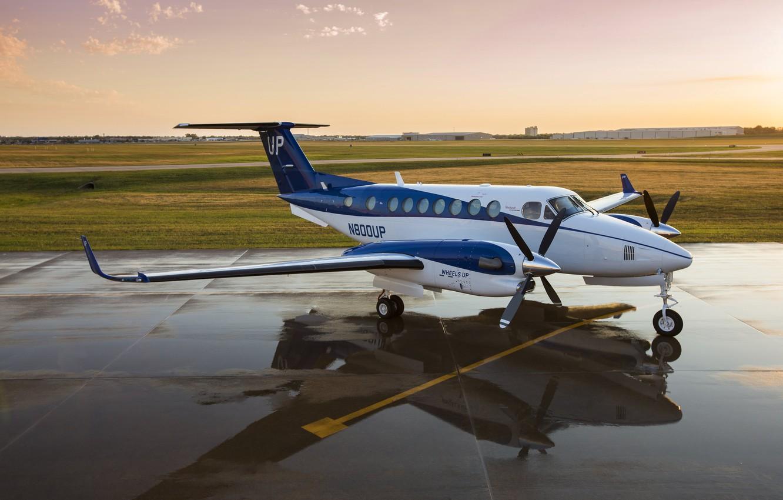 Фото обои небо, вода, закат, самолёт, Beechcraft, 1900D, Beechcraft 1900D