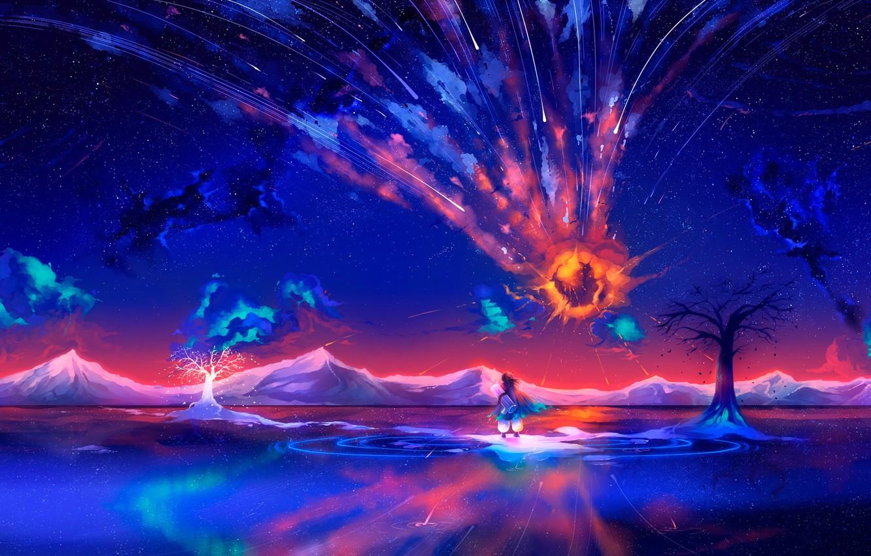Фото обои белый, вода, космос, деревья, полет, горы, взрыв, оранжевый, синий, желтый, отражение, сияние, дерево, огонь, ветер, …